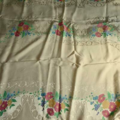 """Superb Rich Cream Irish Rayon Double Damask Tablecloth - Florals Appr 52"""" x 66"""""""