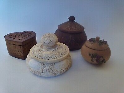 Excellent Lot Of 4 Vintage/Antique Wooden Hand Carved Trinket, Jewelry Gift Box