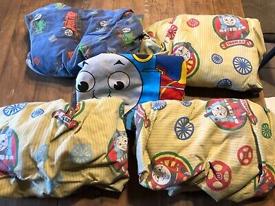5 pc lot Thomas The Tank Toddler Crib Bed Sheet set- fitted (4) & pillowcase
