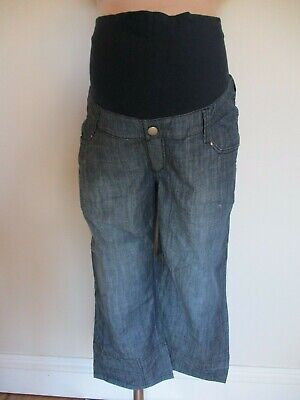 Tete A Tete Maternity Blue Denim Over Bump Cropped Jeans Shorts Size 16 Bnwt