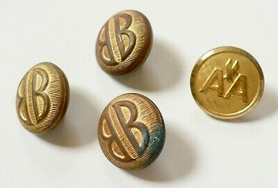 PreOwned Vintage Buttons Gold Tone Metal American Airlines Bill Blass & AA 1970s