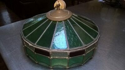 Vintage green Leadlight Stained Glass Ceiling Pendant Lamp