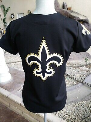 b773529b NEW ORLEANS SAINTS Women's Rhinestone Shirt Crystal football Bling ...