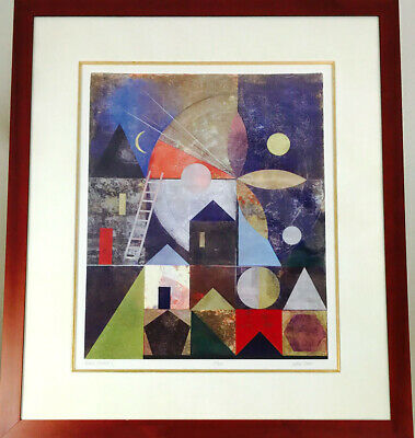 """Abstract Print Signed Limited Edition Lithograph """"Plaza Blanca I"""" by Iren Schio"""