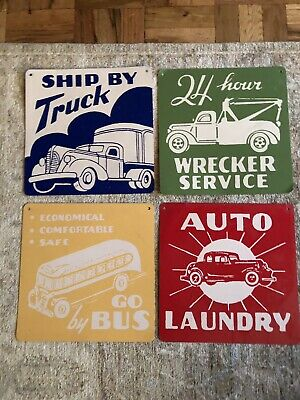 Crate and Barrel's Land Of Nod Vintage Repro Set of 4  Metal Truck Signs 12x12