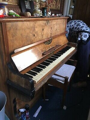 Antiques Well Loved And Used. Upright Victorian Piano With Fluting And Inlaid Decoration