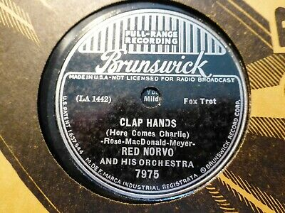 1937 RED NORVO Orch CLAP HANDS here comes Charlie/ Russian Lullaby BRUNSWICK 78