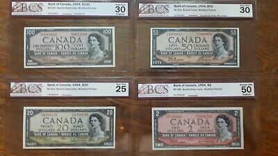 Bank of Canada 1954 4x BCS Graded bank Notes$100, $50, $20, $2
