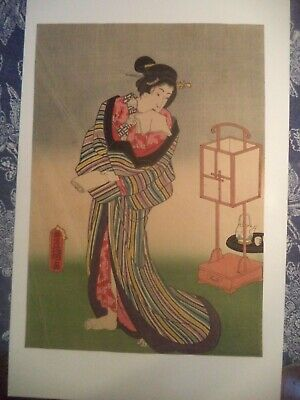 Antique Japanese Woodblock Print Art - TOYOKUNI STANDING BIJIN Antique Original