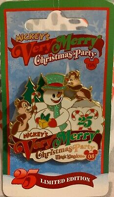 Disney WDW ~ 2008 Mickey's Very Merry Christmas Party Chip n Dale Pin ~ LE 4000