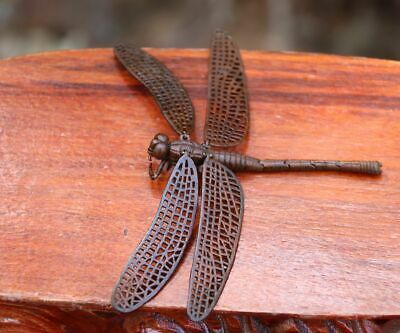 12 cm Chinese Pure Bronze life-like insect movable joint  dragonfly sculpture