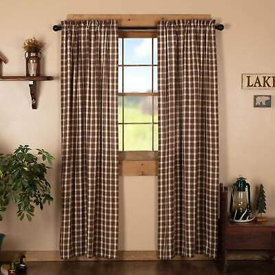 VHC Brands Rory Plaid Brown, Creme, Almond Check Farmhouse Prim Country Curtains