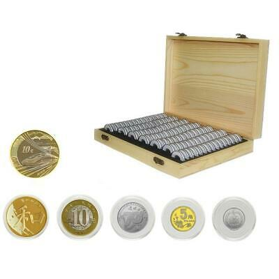 Wooden Coin Storage Container Collection Box Case + 100 Round Capsules Holder