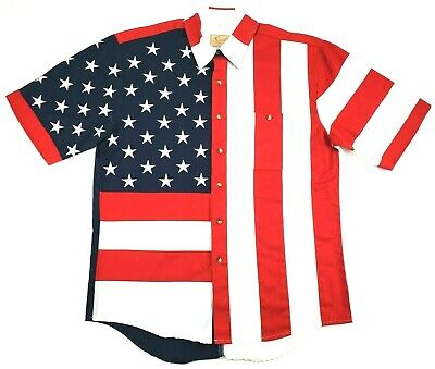 9c6dfadb Scully All Over USA American Flag S/S Button Front Western Shirt Men's Large  L
