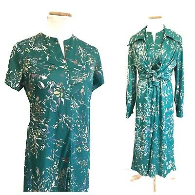 Vintage 60s 70s Polyester Floral Dress And Shirt Set Two Piece Funky Groovy S