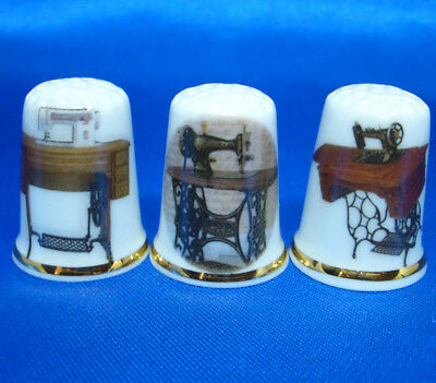 Birchcroft China Thimbles -- Set of Three -- Vintage Treadle Sewing Machines