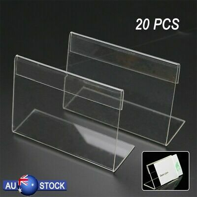 20 Pcs 9x6cm Acrylic Sign Display Holder Label Price Name Card Tag Shop Stands