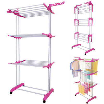 3 Tier Clothes Airer Indoor Outdoor Laundry Washing Dryer Rack Hanger Foldable