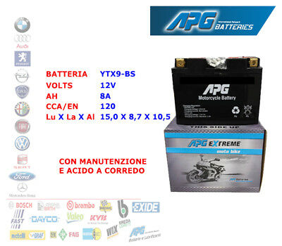 Batteria Moto Scooter Quad 12V 8A Cca/En 120 Ytx9-Bs Apg Extreme Xetx9Bs