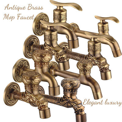 Antique Brass Single Cold Mop Ponds Faucets Quickly Opened Wall Mount Tub Spout
