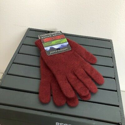 Native World New Zealand Possum Merino Wool Gloves Red Maroon AU STOCK