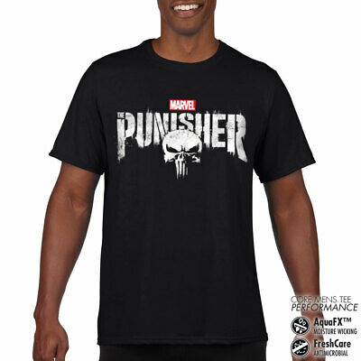 Sous Licence The Punisher Logo Vieilli Performance Homme T-SHIRT S-XXL Tailles