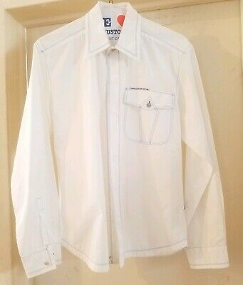 3a9932d3 VTG VERSACE JEANS COUTURE Men's BUTTON DOWN SUMMER BRIGHT WHITE COTTON SHIRT  M