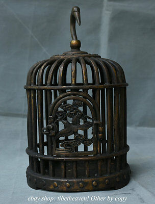 """10.4"""" Collect Old Chinese Bronze Dynasty Hanging Birdcage Bird Cage Statue"""