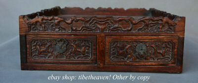 """13.8"""" Old Chinese Huanghuali Wood Carving Qing Dynasty 2 Drawer Smoke Box"""