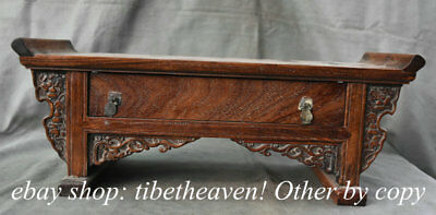 "18.6"" Rare Old Chinese Huanghuali Wood Dynasty Palace Flower Drawer Censer Table"