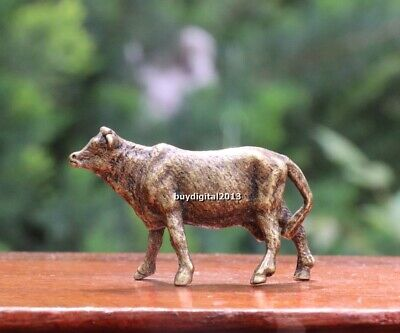 4 cm Chinese Pure Bronze Ox Oxen milch cow dairy cattle Animal Amulet Sculpture