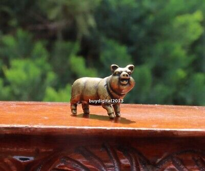 5 cm China Pure Bronze Copper Wolfhound Dog Lucky Animal  Statue