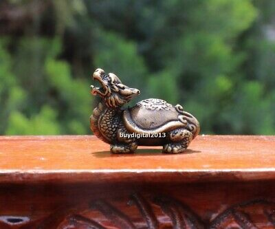 3 CM Chinese Pure Bronze Amulet Dragon Tortoise Turtle Fengshui Animal sculpture