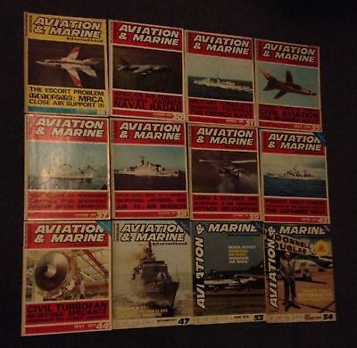 12 issues of Aviation  & Marine - military magazine 1970's - good condition