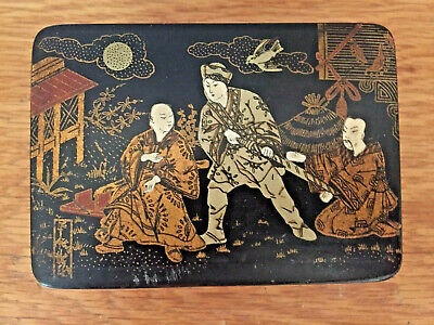 Vintage Chinese Lacquer Box With Painting / Three Noblemen In Landscape