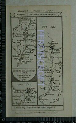 1785 Paterson Strip Map - Whitby,New Malton,Scarborough,Durham,Sunderland,York