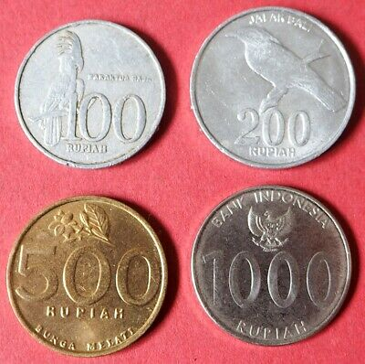 Indonesia Collection Of Four Very Collectable 100, 200, 500 & 1000 Rupiah Coins