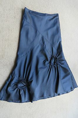Peruna Long Blue Satin Look Evening Skirt 14L