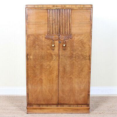 Vintage Art Deco Compactum Wardrobe Carved Marquetry Light Walnut Gents Armoire