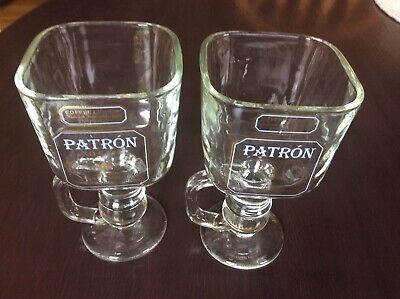"""Patron XO Cafe Coffee Liqueur Footed Square 6"""" Mugs Set Of 2"""
