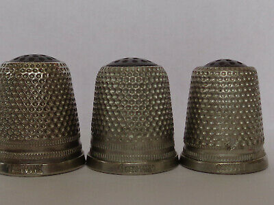 "Three Nice Vintage Thimbles with Black Tops, All Inscribed ""GERMANY"""