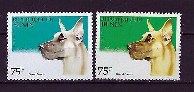 BENIN  1995 , ANIMALS , DOGS  , (color shades), MISSING COLOR ERROR ?