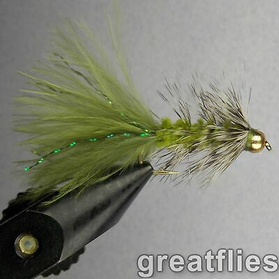 1 dozen (12) - Woolly Bugger - Olive & Grizzly - Bead Head