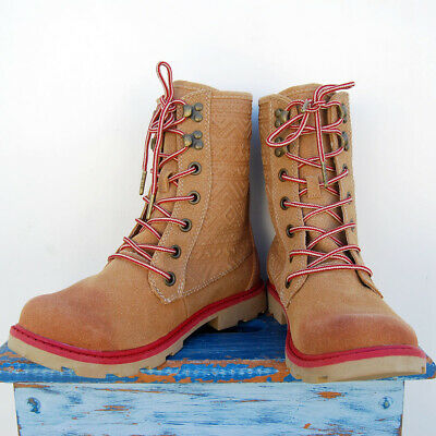 0a5a6ed92dcf08 Roxy Surf Womens Lace-Up Frontier Combat Tan Round Toe Mountain Wave Boots  Sz 9