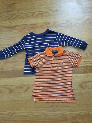 Lot Of 2 Ralph Lauren Striped Boys Short Sleeve Shirts, Polo/ Long Sleeve, Sz 2T