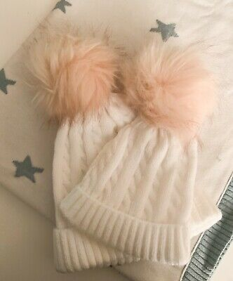 19e68de26 MATCHING MUM & Baby Cable Knit Pom Pom Hats in Grey - Twinning - EUR ...