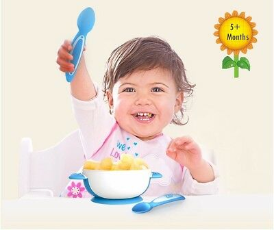 Baby Infant Toddler Training Stay Put Suction Bowl with Lid and 2 Matching Spoon