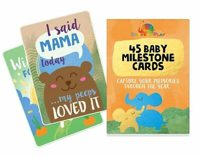 Baby Milestone Cards, 45 Illustrated cards to capture your Baby's 1st Year High