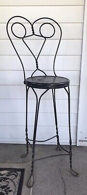 Vintage Twisted Iron Ice Cream Parlor Bistro Chair