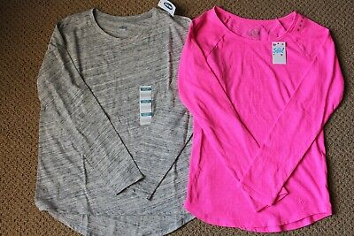 552d1ef46 GIRLS OLD NAVY JUSTICE long sleeved t-shirts tops pink gray, size 10 ...